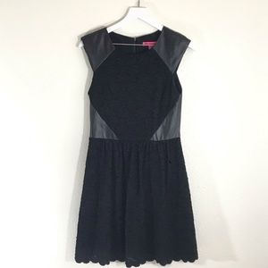 Betsey Johnson Faux Leather Trim Lace Dress
